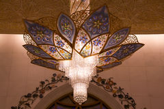 Chandelier in the Sheikh Zayed mosque in Abu Dhabi, United Arab Emirates Royalty Free Stock Photos