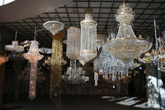 Chandelier shop. Many hanging design Royalty Free Stock Images