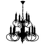 Chandelier silhouette. Beautiful old vintage chandelier silhouette vector illustration