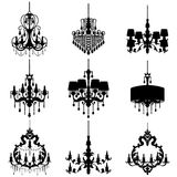 Chandelier silhouette isolated on White background Royalty Free Stock Photos