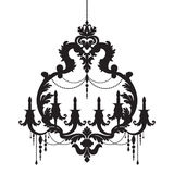 Chandelier silhouette isolated on White background Royalty Free Stock Photography