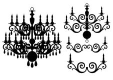 Chandelier silhouette vector set Stock Photography