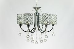 Chandelier Silver Gray with Crystal. Chandelier silver gray color with crystal on the gray background royalty free stock images