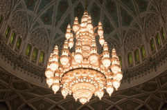 Chandelier of the Sultan Qaboos Grand Mosque, Oman Royalty Free Stock Photo