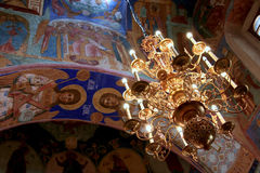 Chandelier and frescoes inside the Transfiguration Cathedral of the Saviour Monastery of St. Euthymius, Russia, Suzdal stock photos