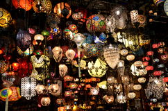 Chandeliers. Lots of chandeliers from Grand Bazaar, istanbul, Turkey royalty free stock photo