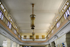 Chandeliers ceiling lights at ancient railway station. Close up Royalty Free Stock Images