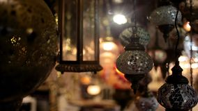 The chandeliers market. Turkish and Arabic chandeliers market at night stock footage
