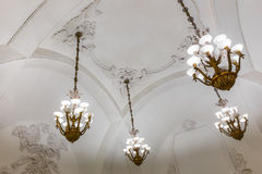 Chandeliers in Moscow metro Royalty Free Stock Images