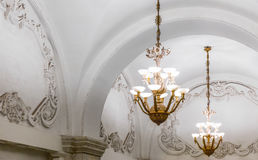 Chandeliers in Moscow metro Royalty Free Stock Photography
