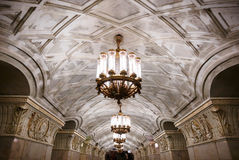Chandeliers in Moscow metro Royalty Free Stock Photo