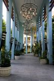 Chandeliers over walkway at luxury hotel in Mexico Stock Photo