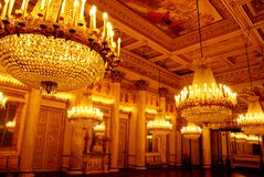 Chandeliers in the royal palace Stock Image