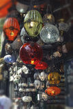 Chandeliers in various colors. Photo was shoot in a large market in Istanbul, Turkey Royalty Free Stock Images