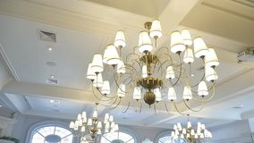 Chandeliers in White Hall. Move stock video