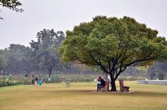 Chandigarh, India - Januari 4, 2015: Toeristenbezoek Zakir Hussain Rose Garden in Chandigarh Royalty-vrije Stock Foto's