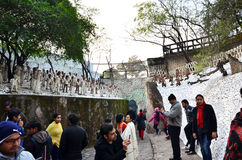 Chandigarh, India - January 4, 2015: People visit Rock statues at the rock garden in Chandigarh Stock Image