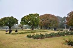 Chandigarh, India - January 4, 2015: People visit Zakir Hussain Rose Garden Royalty Free Stock Photos