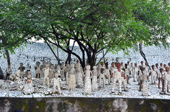 Chandigarh, India - January 4, 2015: Rock statues at the rock garden Royalty Free Stock Images