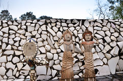 Chandigarh, India - January 4, 2015: Rock statues at the rock garden Stock Photography