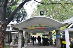 Chandigarh, India - January 4, 2015: Tourist visit Le Corbusier Centre in Chandigarh. Chandigarh, India - January 4, 2015: Tourist visit Le Corbusier Centre in stock photo