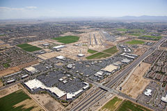 Chandler Airport. Chandler, Arizona Airport and the Loop 202 freeway with surrounding homes, retail, office and business development Stock Image