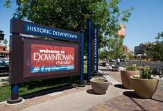 Chandler Arizona. CHANDLER, AZ - APRIL 15, 2012: View of the main road and sign welcoming tourists to Historic Downtown Chandler Arizona, USA Stock Photo