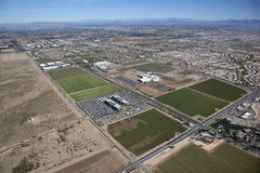 Chandler Business and Freeways. Aerial view of Chandler's agriculture farmland being developed into a modern technology corridor of business Stock Images