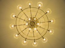 Chandlier. A chandelier hanging in an old room Royalty Free Stock Photos