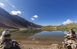 Chandrataal Lake. Also known as Lake of the Moon, is situated at an altitude of about 4,300 metres 14,100 ft in the Himalayas. The name of the lake originates Royalty Free Stock Photos