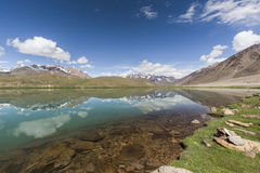 Chandrataal Lake. Also known as Lake of the Moon, is situated at an altitude of about 4,300 metres 14,100 ft in the Himalayas. The name of the lake originates Stock Images
