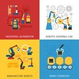 Chaîne de montage industrielle 4 icônes plates Images libres de droits