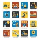 Chaîne de montage industrielle icônes plates réglées Image libre de droits