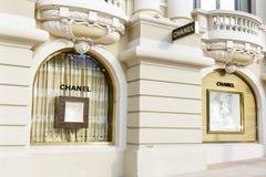 Chanel armazena a parte dianteira em Monte - Carlo, Mônaco fotografia de stock