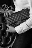 Chanel bag. Vintage bag, still fashionable on bw photography Royalty Free Stock Photography