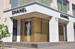Chanel boutique. MOSCOW, RUSSIA - MAY 25: Lancel flagship store in Moscow city centre on may 15, 2014. Chanel is a high fashion house that specializes in haute Royalty Free Stock Photos
