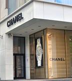 Chanel boutiqueyttersida Arkivbild