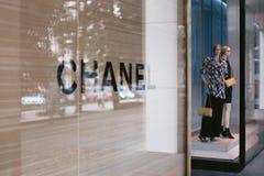 CHANEL butika gablota wystawowa 35mm ekranowy obraz cyfrowy Zdjęcia Stock