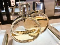 Chanel Chance Perfume bottles royalty free stock photo