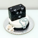 Chanel classic handbag fountain cake Stock Images