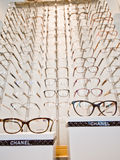 Chanel eyeglasses frames on display Royalty Free Stock Images