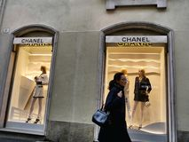 Chanel fashion shop window from outside stock photo