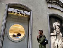 Chanel fashion shop window from outside royalty free stock photo