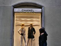 Chanel fashion shop window from outside royalty free stock image