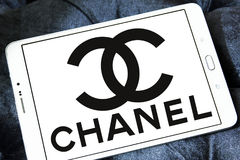 Chanel logo. Logo of fashion company chanel on samsung tablet Stock Photography