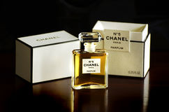 Chanel No 5 french perfume parfum bottle box isolated dark background Royalty Free Stock Image