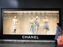 Chanel Paris showcase Trend 2018 Printemps Haussmann. A showcase of luxury brand Coco Chanel at the Printemps department store. Four blond female mannequins royalty free stock image
