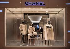 Chanel shop in Paris, Printemps shopping centre. Paris, France - October 30, 2017: Chanel shop in Paris, Printemps shopping centre. Chanel is a fashion house royalty free stock image