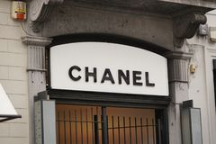 Chanel sign outside a store royalty free stock image
