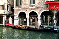 Chanel  in Venice. Gondola ride Royalty Free Stock Photography